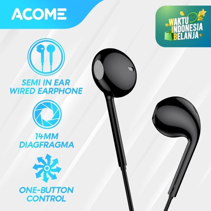 Foto Produk ACOME Headset Stereo Sound Microphone Semi In Ear Wired Earphone - Hitam dari Acome Indonesia