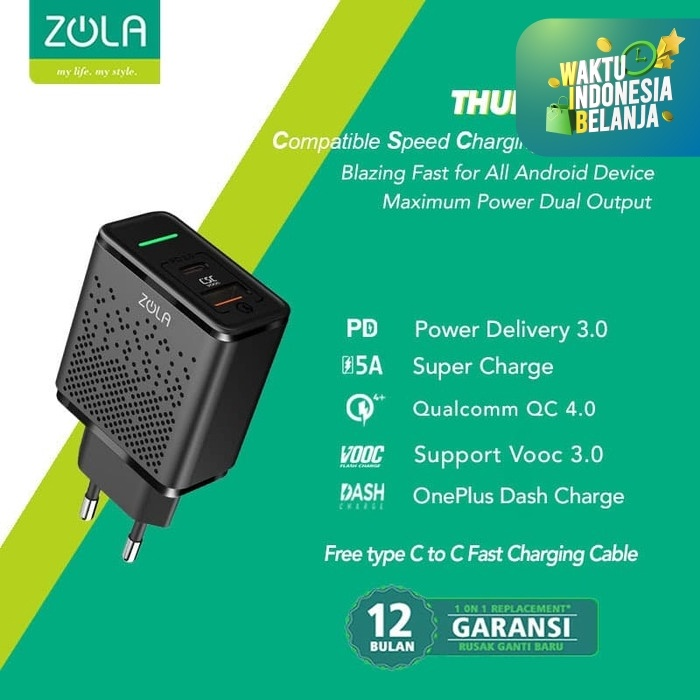 Foto Produk Zola Thunder Bolt Fast Charging Charger VOOC 3.0 ,PD,QC3.0,SuperCharge dari Zola Indonesia
