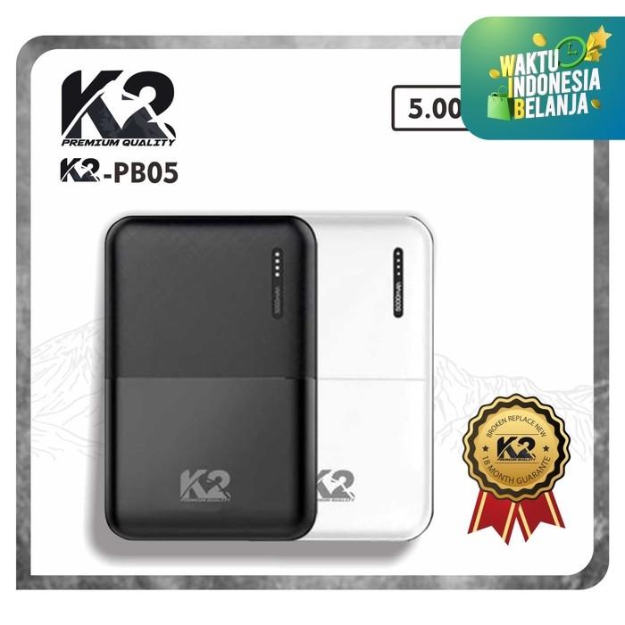 Foto Produk Powerbank K2-PB05 K2 PREMIUM QUALITY 5000Mah SLIM SMALLEST - Putih dari K2 Official Store