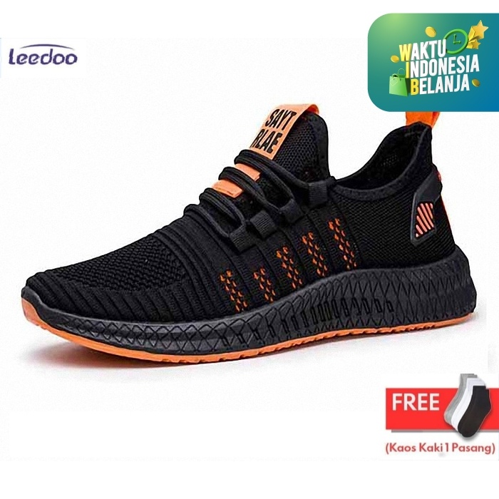 Foto Produk Leedoo Sepatu Pria Sneakers Running Spatu Casual Young Lifestyle MR112 - Hitam Oren, 41 dari Leedoo