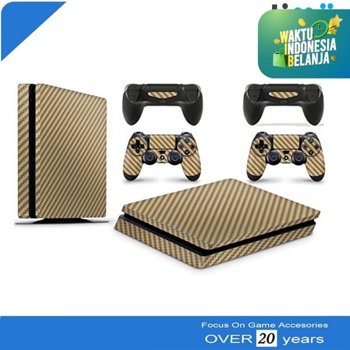 Foto Produk Garskin Skin Sticker PS4 Slim Plus Stick Stik Karbon Carbon Gold dari Timur Game Shop