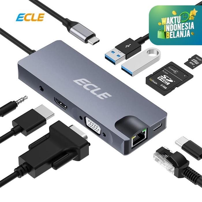 Foto Produk ECLE USB Hub Card Reader HDMI Type C VGA USB 9 in 1 Universal Port dari ECLE Official Store