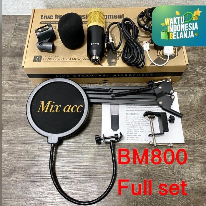 Foto Produk BM800 ORIGINAL Full Paket recording Microphone Condenser Live - GOLD dari Mix acc88