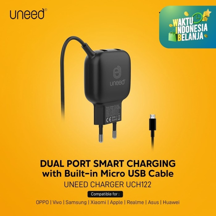 Foto Produk UNEED Smart Charger Triple Output 15w with Micro USB Cable - UCH122 dari Uneed Indonesia