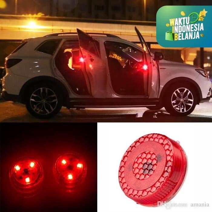 Foto Produk Lampu Peringatan LED Buka Pintu Mobil Wireless Car Door Warning Light - Merah dari lbagstore