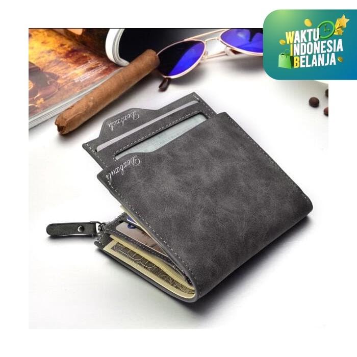 Foto Produk Dompet Kulit Pria Grey Abu2 Model Bogesi Premium Vintage Hadiah Kado dari lbagstore
