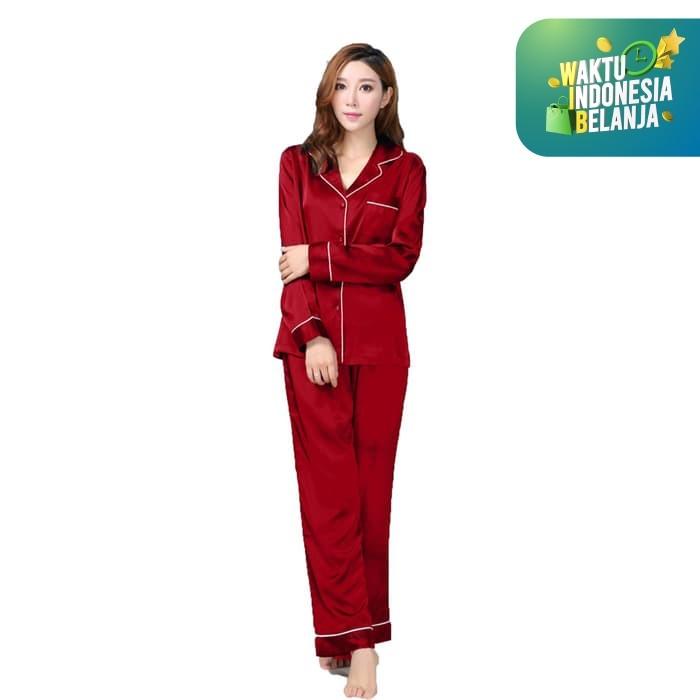 Foto Produk Jfashion Stelan Baju Tidur Tangan Panjang Celana Panjang - Silky PP - Maroon dari j--fashion