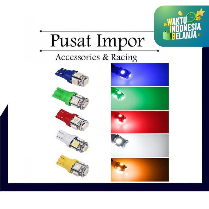 Foto Produk Lampu LED Jagung T10 Senja kota sein 5mata 5 titik mata Mobil Motor - Biru Muda dari Pusat Impor