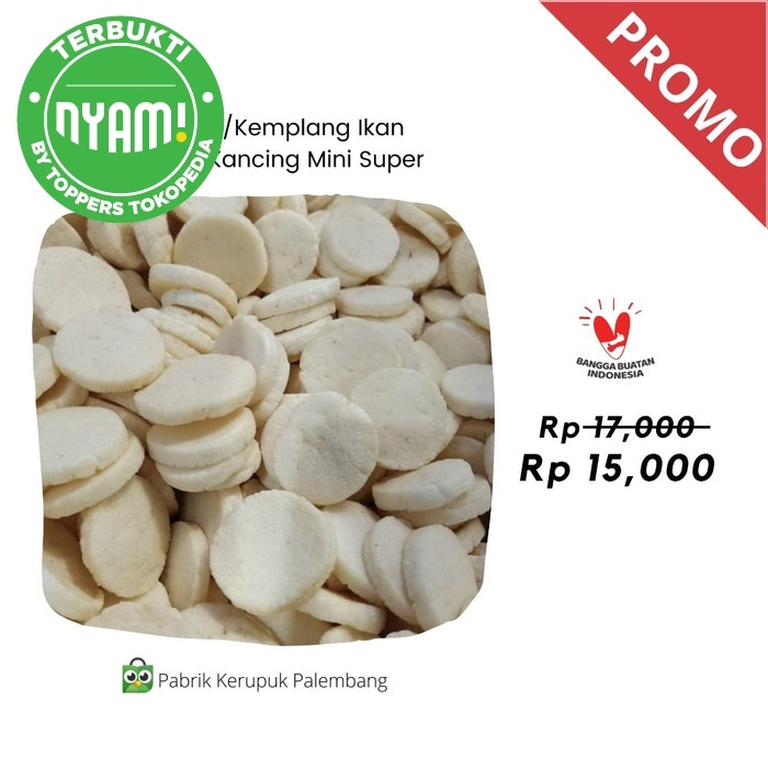 Foto Produk Kerupuk / Kemplang Ikan Tenggiri Kancing Mini Super Palembang BM dari Pabrik Kerupuk Palembang
