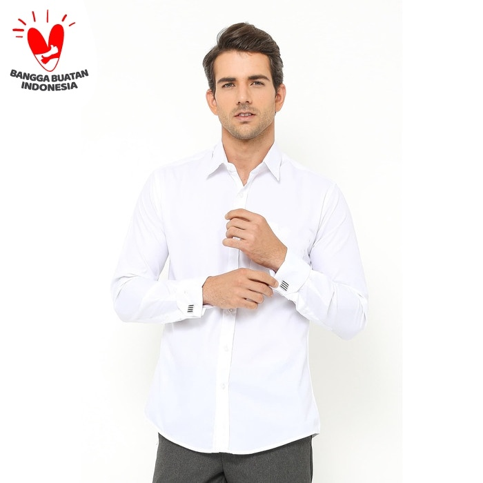 Foto Produk kemeja putih kerja slim fit formal french cuff pakai cufflinks wedding - M dari House of Cuff