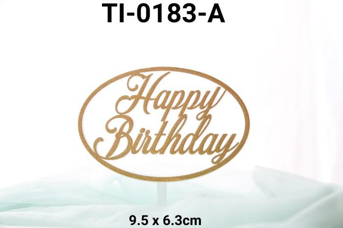 Foto Produk TI-0183-A Topper tulisan plastik happy birthday besar oval emas dari Yamama Baking