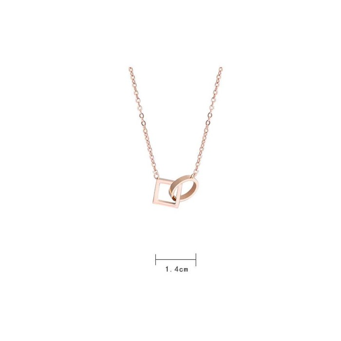 Jual Mxbeauty Rose Gold Koean Square Geometric Ring Necklace Jakarta Barat Chandraonshop Tokopedia