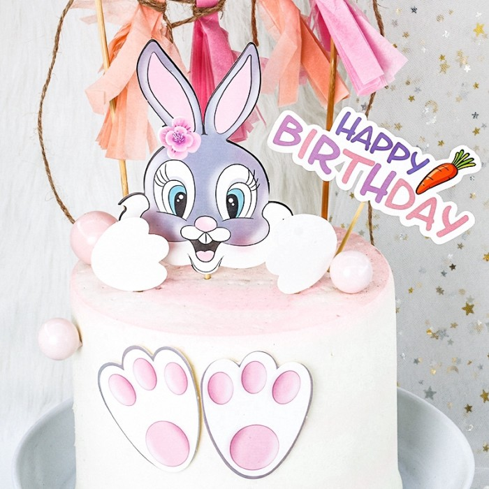 Jual Cute Cartoon Rabbit Happy Birthday Cake Topper Party Decoration Jakarta Selatan Doremistore3 Tokopedia