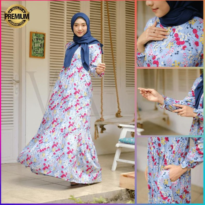 Jual Fantastis Glamour Namira Homedress Blue Gamis Syari Kekinian Favorit Kab Bandung Ashima Hijab Store Tokopedia