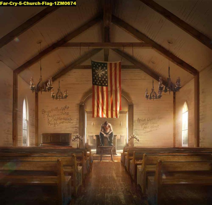 Jual Poster Game Far Cry 5 Church Flag 1zm0674 90x87cm Bahan Pet Kab Majalengka Juragan Poster Murah Tokopedia
