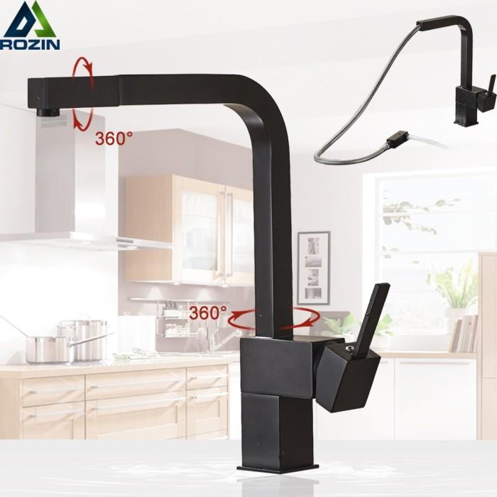 Jual Promo Bulan Ini Black Pull Out Kitchen Sink Faucet Brass Square Kab Boyolali Shopping Center 001 Tokopedia