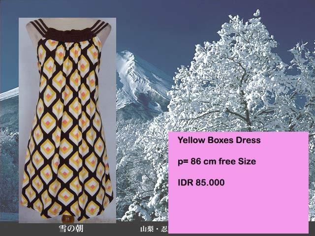 Foto Produk Yellow Boxes Dress dari Miu's Ribbon