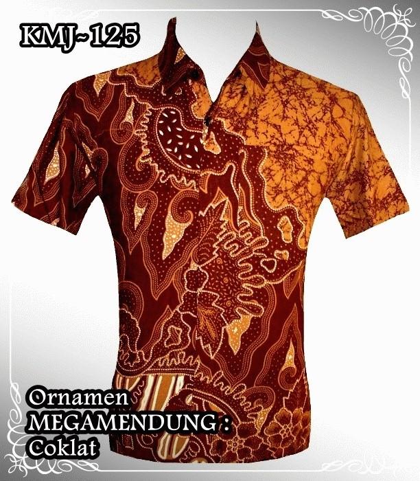 Kemeja Batik Mega Mendung Wanita: Jual KEMEJA BATIK : Ornamen Mega Mendung COKLAT (KMJ-125