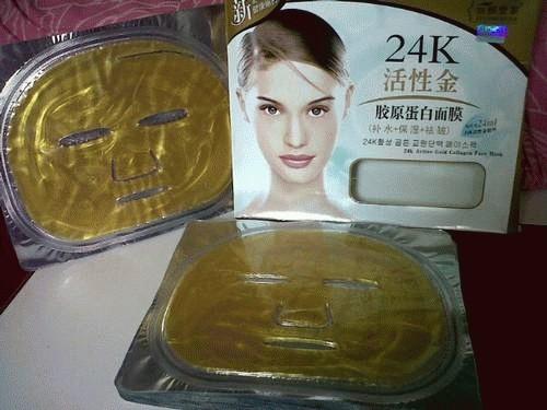 24K Active Gold Collagen Face Mask By Lianshijia masker topeng emas