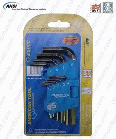 Short hex key set 9 pcs 1.5-10 mm americantool