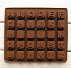 Cetakan kue / puding / es batu motif alfabet a-z (30 kotak)