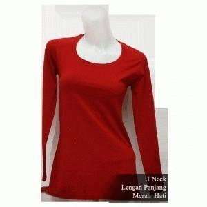 Jual Kaos Polos Cewek Lengan Panjang Warna Merah Hati F05 Kota Surabaya Zeesty Funn Tokopedia