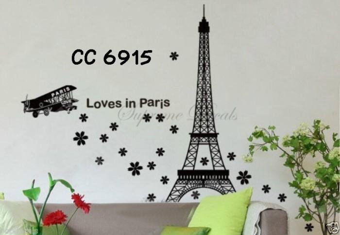 jual wall stiker uk.60x90 wall sticker dinding loves in paris - kota