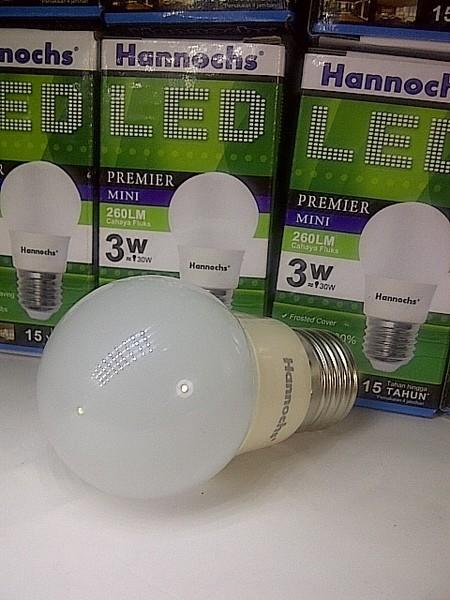 ... harga Lampu led hannochs 3 watt / 3w 260 lumens 3watt putih / murah garansi 1thn