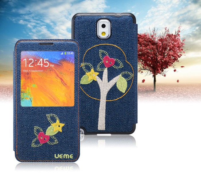 Embroidery Denim Flip Cover Samsung Galaxy Note 3 Love Tree