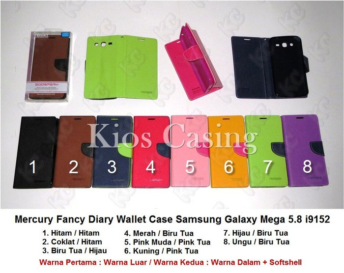 Mercury Fancy Diary Wallet Case Sarung Flip Book Cover Samsung Galaxy Mega 5.8 i9152