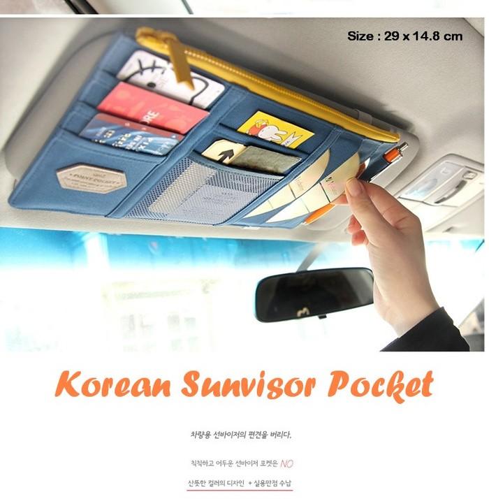 Korean Sunvisor Pocket (banyak sekat, isi mobil jadi rapi)