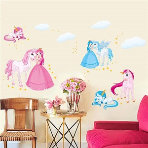 jual blue pink unicorn - wall sticker / stiker dinding plastik