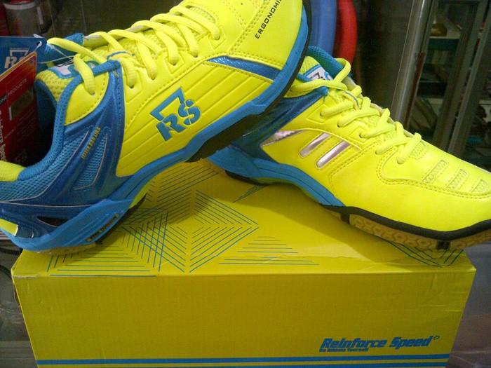 Jual Sepatu Badminton   Bulutangkis RS Jeffer 800 Liga Lemon Blue ... 25f8d3ee65