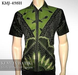 Foto Produk KEMEJA BATIK MODERN   Black Ornament GREEN   KMJ-498H dari Rajapadmi Batik