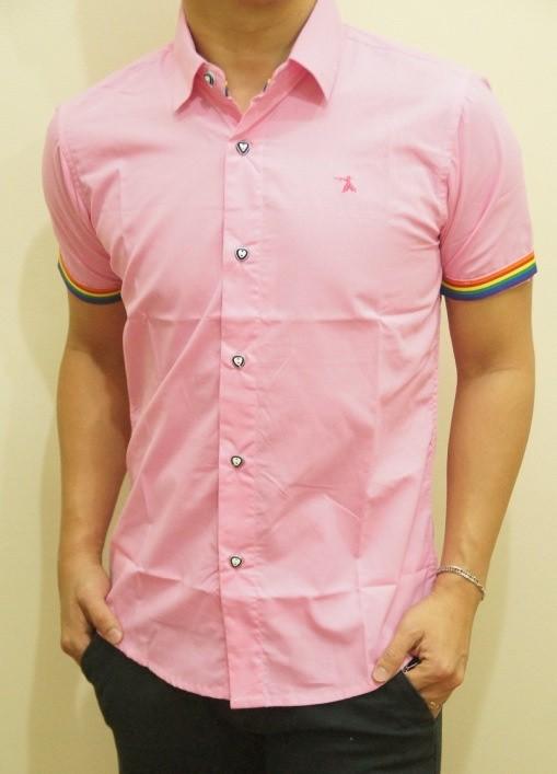 Kemeja Slim Fit Pria Lengan Pendek Merah Muda Pink KFP