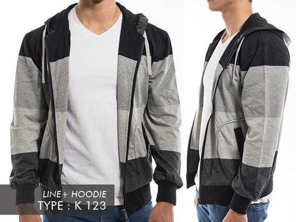 JAKET PRIA BAHAN KAOS COMBED IMPORT Bahan Katun Adem tapi tetep Gaya Jaket  adem nyaman gaya keren warna Line+Hoodie K-123 f6c551a853