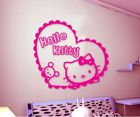 jual hello kitty heart, wall sticker, wallsticker, wall stiker