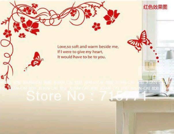 jual stiker dinding bunga salur merah - wallsticker surabaya | tokopedia