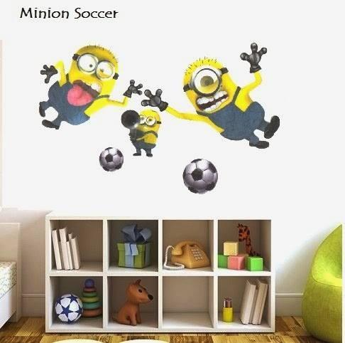 jual stiker dinding minion soccer - wallsticker surabaya | tokopedia