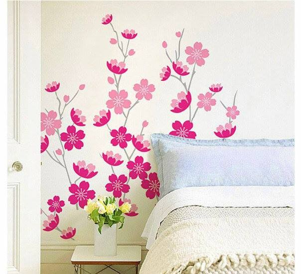 jual stiker dinding ranting bunga pink - wallsticker surabaya