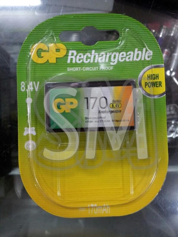 Baterai isi ulang (rechargeable battery) GP NiMH 170mAh kotak 9Volt (8.4Volt) 9V (8.4V)