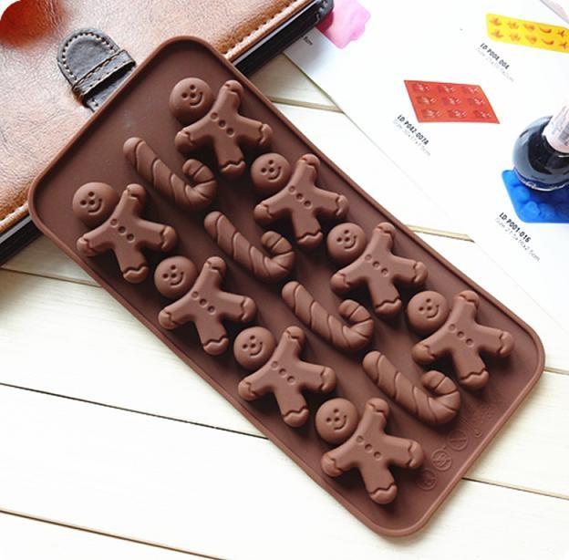 Cetakan kue / puding / es batu berbentuk gingerbread dan tongkat (12 kotak)