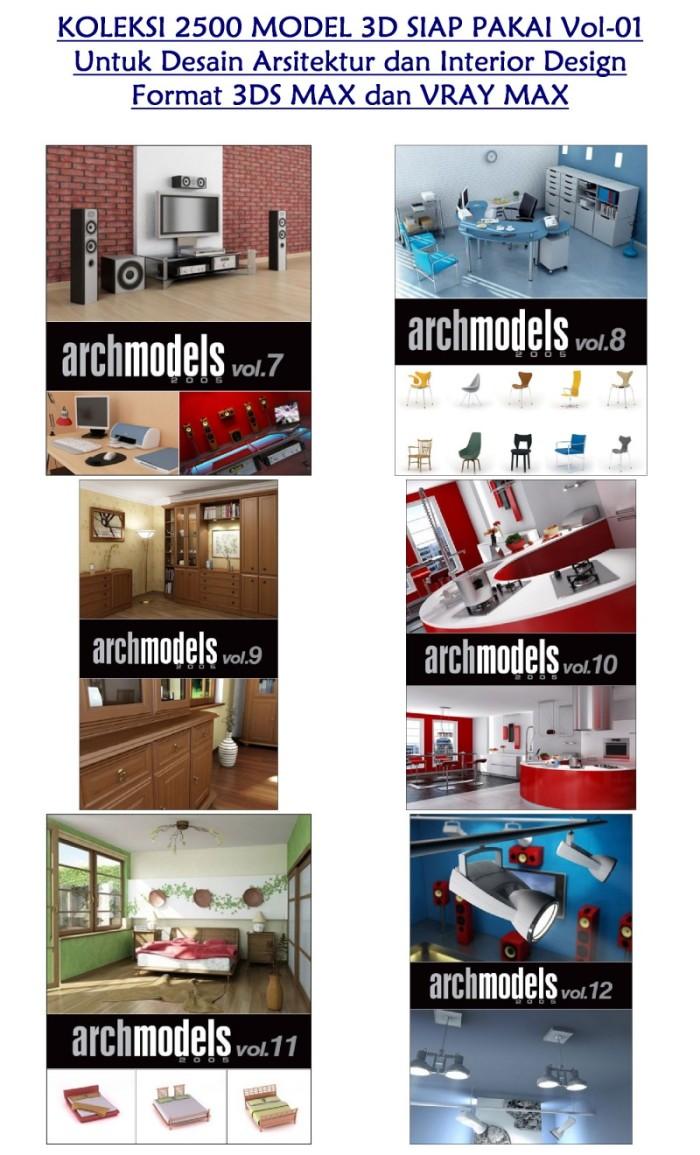 Jual Koleksi 2500 Model 3D Siap Pakai Untuk Desain Arsitektur Dan Interior Design VOL 1 Format 3DS MAX Dan VRAY MAX Lebih Dari 4GB Kota Medan