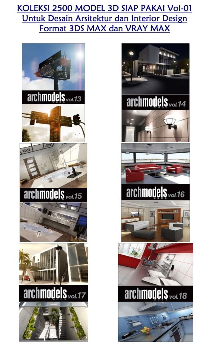 Jual Koleksi 2500 Model 3D Siap Pakai Untuk Desain Arsitektur Dan