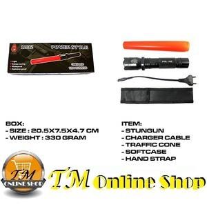 Stun gun / Stungun / Senjata Kejut Lisrik New 1101 Z / 1101Z (Alat Setrum + Senter + Baton Lalin) Police Swat 3 Mode Nyala