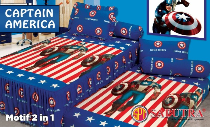 Sprei Captain America 120 x 200 SINGLE TWIN BED