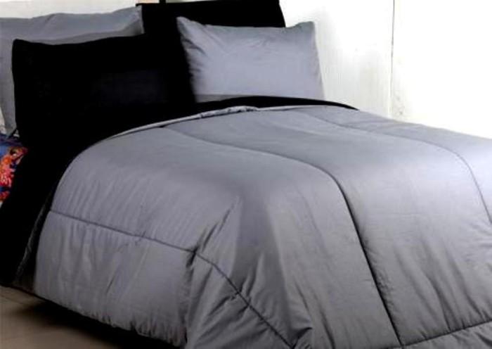 Bedcover Set Jaxine Polos Katun Prada Grey Black 180x200