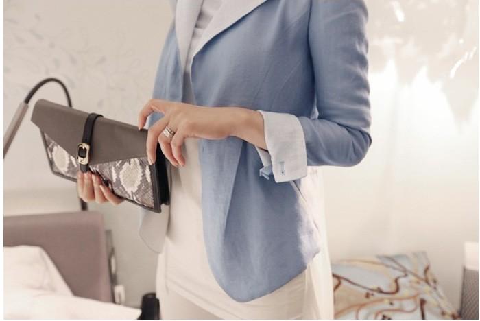 harga (baju impor) jaket - blazer - cardigan with chiffon back # biru Tokopedia.com