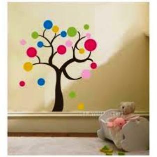 jual pohon bulat warna - wall sticker / stiker dinding kertas - kota