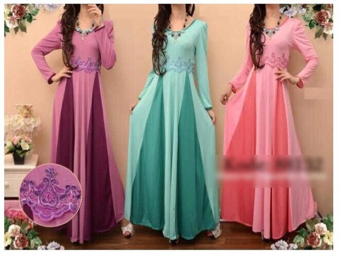 Baju Impor Dress Gamis Hijab Hijau Tosca Ungu Dan Pink